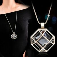 Women Hollow Gold Silver Glass Charm Pendant Necklaces Long Chain Jewelry Gifts