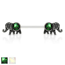 Opal Glitter Elephant Nipple Bar With 316L Surgical Steel Barbell