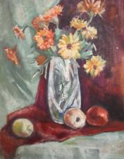 IMPRESSIONIST STILL LIFE OIL PAINTING FLOWERS FRUITS