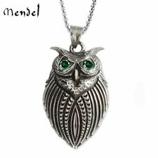 MENDEL Vintage CZ Owl Necklace Pendant Men Stainless Steel Free Shipping Silver