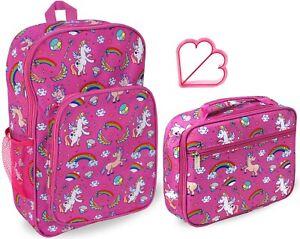 Girls Unicorn Lunch Box and Backpack School Book Bag Set Preschool Kinder Pink