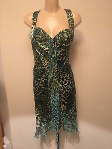 Official Green leopard print silk dress beautiful fit small size 14 vintage