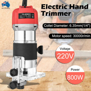 800W Wood Trim Router Woodworking Power Tool 30000rpm Electric Hand Trimmer