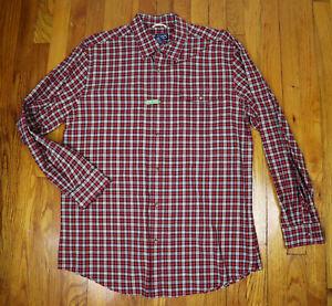 MEN'S RED PLAID BUTTON-DOWN DRESS SHIRT - CHAPS - SIZE L