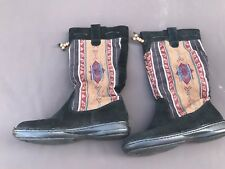 Minnetonka El Paso Black Mid-Calf Western Indian Blanket Boots Womens 6M