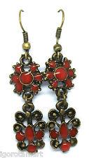 VINTAGE Style Red Flower Bohemian Boho Style Goccia Dangle Earrings Ear