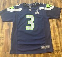 Nike On Field Seahawks Russell Wilson #3 Super Bowl XLIX NFL Sewn Jersey Boys XL