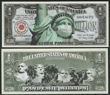 Global Pandemic Safety Million Dollar Bill Play Money Novelty Note + Free Sleeve