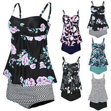 Womens Tankini Swimsuit Two Piece Bathing Suit Swimdress w/ High Waisted Bottoms