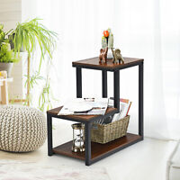 3-Tier End Table Side Table Night Stand W/ Storage Shelf for Living Room Bedroom
