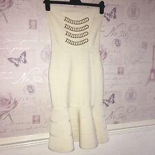 £305 NEW Forever Unique Bandage White Flounce Fluted Hem Mermaid Midi Dress 8