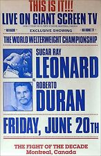 SUGAR RAY LEONARD vs ROBERTO DURAN 1 / Original Closed Circuit Boxing Poster A
