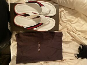 Gucci Men's Web & Leather Thong Sandals Red/White/Blue Size 12