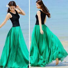 Women Boho Double Layer Maxi Dress Chiffon Long Sundress Summer Lady Beach Skirt