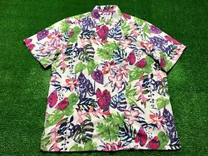 Tommy Bahama Men's Button Front Silk Shirt Large Hawaiian Floral Camp Purple