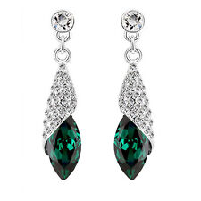 Crystal Emerald Green Jewellery Diamond Shine Rhinestone Drop Earrings E1131
