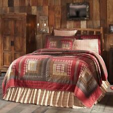 Hand Stitched Queen Quilt Lodge Style Log Cabin Patchwork Red Brown Cream Tacoma