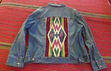 Women's XXL jean denim jacket with vintage Mexican serape insert xlnt cond