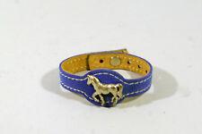 BRACELET ENFANT en cuir, règlable, motif cheval, bleu, et autres objets cheval