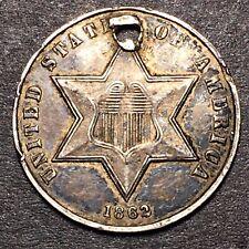 1862/1 3 Cent Silver Trime 3c FS-301 Rare Semi Key Date Sharp AU Details Holed