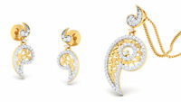 1,20 Cts Runde Brilliant Cut Diamanten Anhänger Ohrringe Set In 585 14K Gelbgold