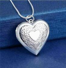 925 Silver Open Picture Locket Patterned Heart Shaped Photo Pendant Necklace UK