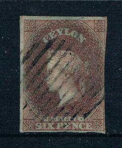 Ceylon - 1857 - 6d QV - Purple Brown on Blued Paper - SC 2 [SG 1] - USED W7