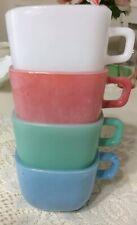 Lot (4) Glasbake Mugs Lipton Pastel Square Soup Promo Usa Multi color Mugs Bowls