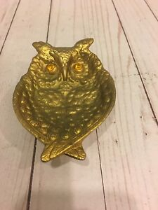 Vintage Solis Brass Owl Footed Trinket Tray Glass Eyes 6 inch.