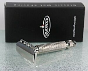 RazoRock Stainless Steel Lupo DC Razor (Dual-comb) w/85mm UFO Handle NIB