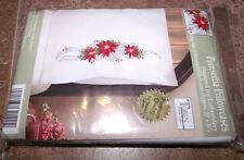 "Tobin Stamped Pillow Cases POINSETTIA  for Embroidery 20"" x 30"" 1 Pair"
