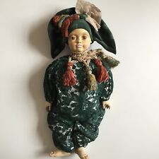 """Artist Carved Wood Doll Hand Painted Faenza Italy 18"""" GD"""