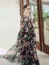 fSb Imported Women Stylish Black V-Neck Floral Ankle-Length Maxi Dress