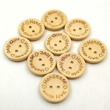 With Love Wooden Buttons 2  Holes Round 15mm DIY Scrapbooking Sewing Craft  2PCS