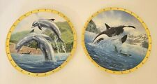 Lenox Bottlenose Dolphins & Orca Collector Plates by Jarrett Holderby Set of 2