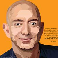 Jeff Bezos Amazon Art on Acrylic Frame Print Wall Poster Painting 25cm Track#