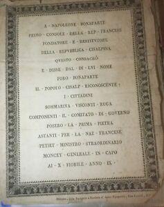 """MILAN.RARE PLACARD POUR LA POSE 1ére PIERRE  DU """"FORO BONAPARTE"""".30AVRIL1801."""