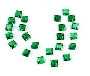 5.85 Ct/3mm Colombian Emerald Gemstone Lot 23 Pcs Natural Princess Cut Certified