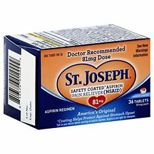St. Joseph Aspirin Tablets Adult Low Strength Safety Coated 36 Tablets