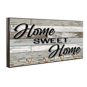 Old Rustic Wood Home Sweet Home Design Key Hanger / Pet Leash Hanger