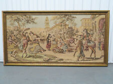 Antique Vintage Tapestry Embroidery Spanish Dancers Town Square Scene Framed