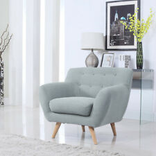 Linen Fabric Tub Chair Armchair Lounge Modern Sofa Grey Classic Button Armrest