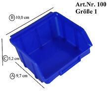 Kunststoff PP Sichtlagerk/ästen Stapelk/ästen mit Aufh/ängevorrichtung 102x96x52mm 30 St/ück Stapelboxen blau Gr.1
