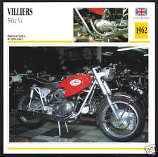 1962 Villiers 500cc V4 V-Four Two-Stroke (498cc) Motorcycle Photo Spec Info Card