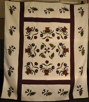NEW! AUTHENTIC! Hand-Made Lancaster Amish Quilt Potted Flowers 102 X 115
