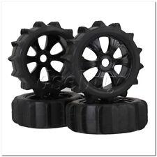 RC1:8 Off Road Car Rubber Beach Tire & Black Plastic 6-Spoke Wheel Rim Pack of 4