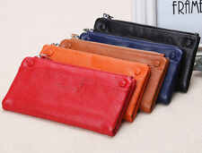 Women Bifold Leather Wallets 100% Soft Genuine Zipper Lady's Fashion Long New