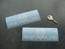 2x sticker Remus Blanc 14cm haute temp auto car moto decals aufkleber A106-010