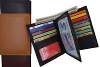 Men's Hipster Bifold Genuine Leather Multi-Card ID Holder European Wallet New