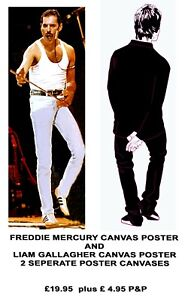 LIFESIZE FREDDIE MERCURY AND LIAM GALLAGHER 2 SEPERATE POSTERS 6 FEET APPROX